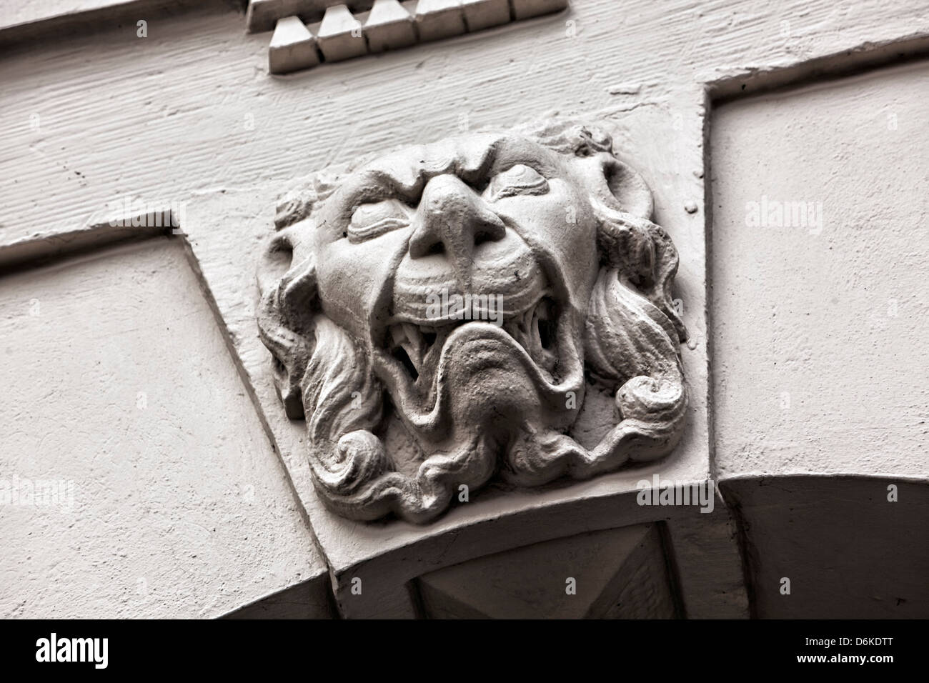 Lion head, detail of neoclassical facade - Stock Image
