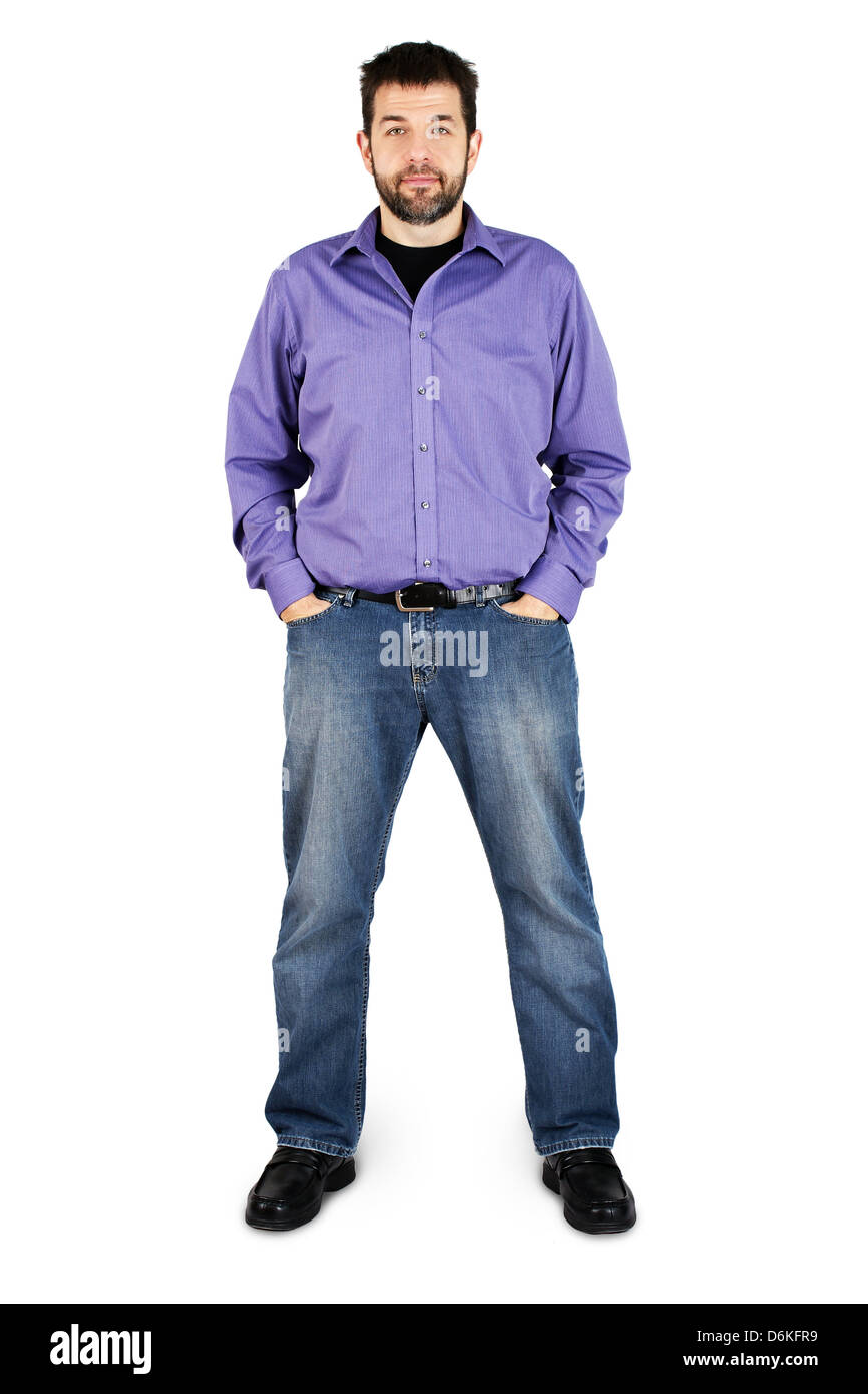 Complete body shot of a tall caucasian man in jeans over white - Stock Image