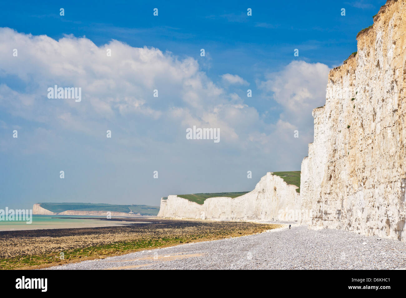 Seven Sisters cliffs, Birling Gap beach, South Downs Way, South Downs National Park, East Sussex, England, UK GB - Stock Image