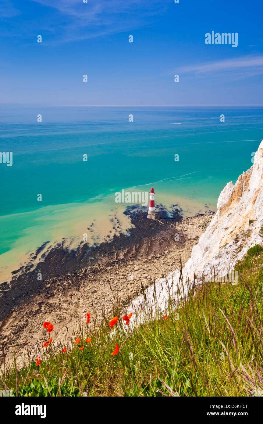 Beachy Head lighthouse beneath Seven Sisters chalk cliffs South Downs way national park east sussex england uk gb - Stock Image