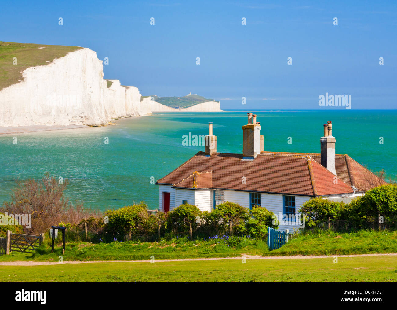 The Seven Sisters cliffs, the coastguard cottages South Downs Way, South Downs National Park, East Sussex, England, Stock Photo