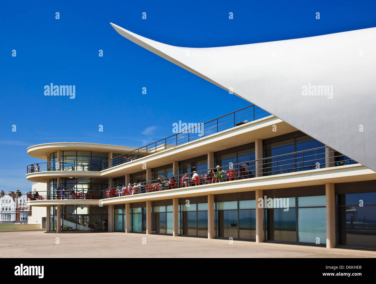 Outdoor stage at De La Warr Pavilion, Bexhill on Sea, East Sussex, England, UK, GB, EU, Europe Stock Photo
