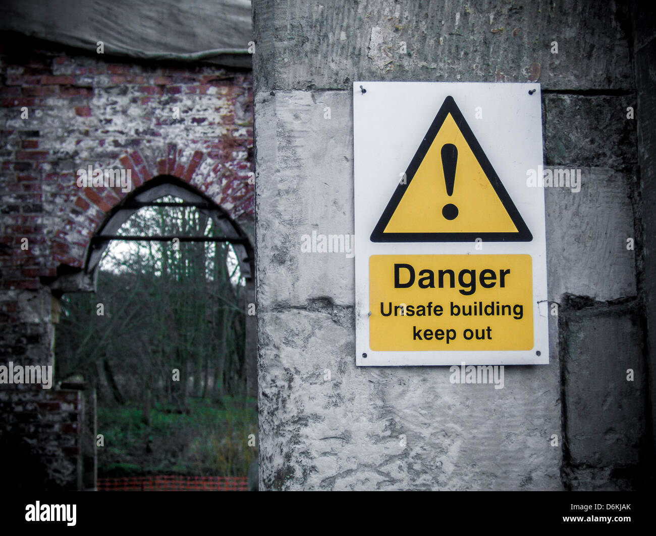 Danger Unsafe Building sign - Keep Out - Stock Image