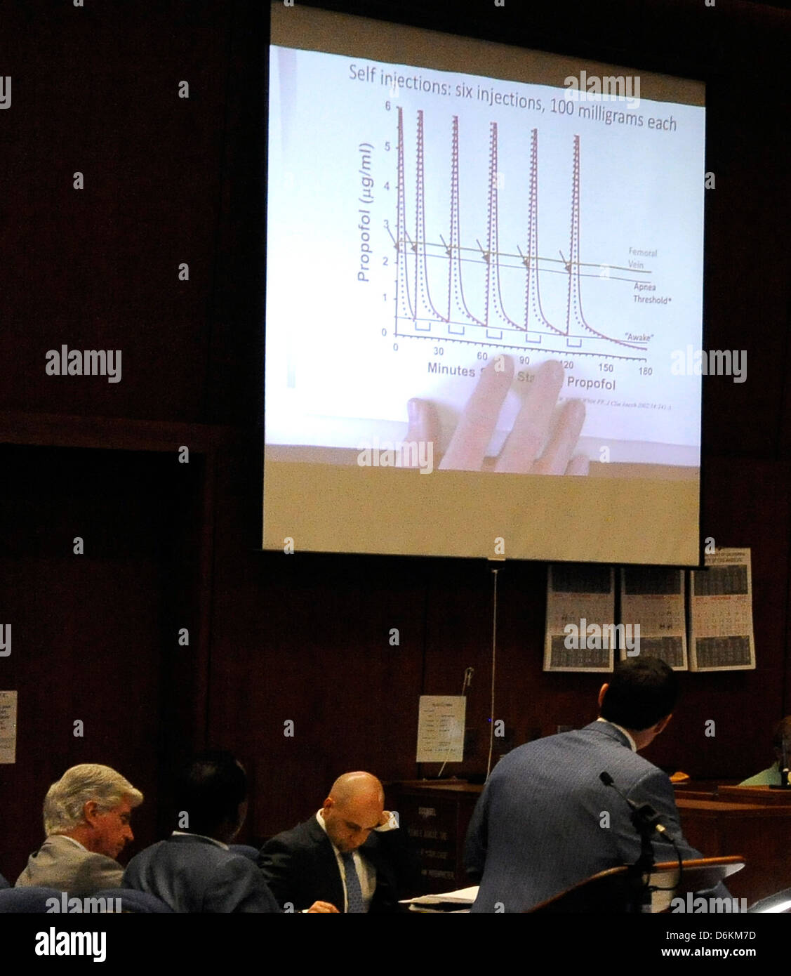 A chart showing propofol injections is projected onto a screen during the cross examination of propofol expert anesthesiology - Stock Image