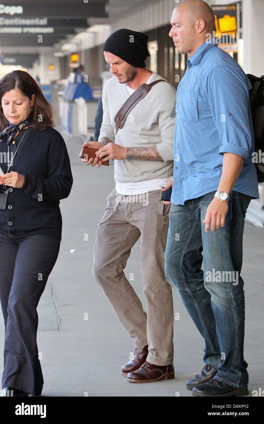 David Beckham arrives at LAX airport separately from his LA Galaxy team mates after a match Los Angeles, California - Stock Image