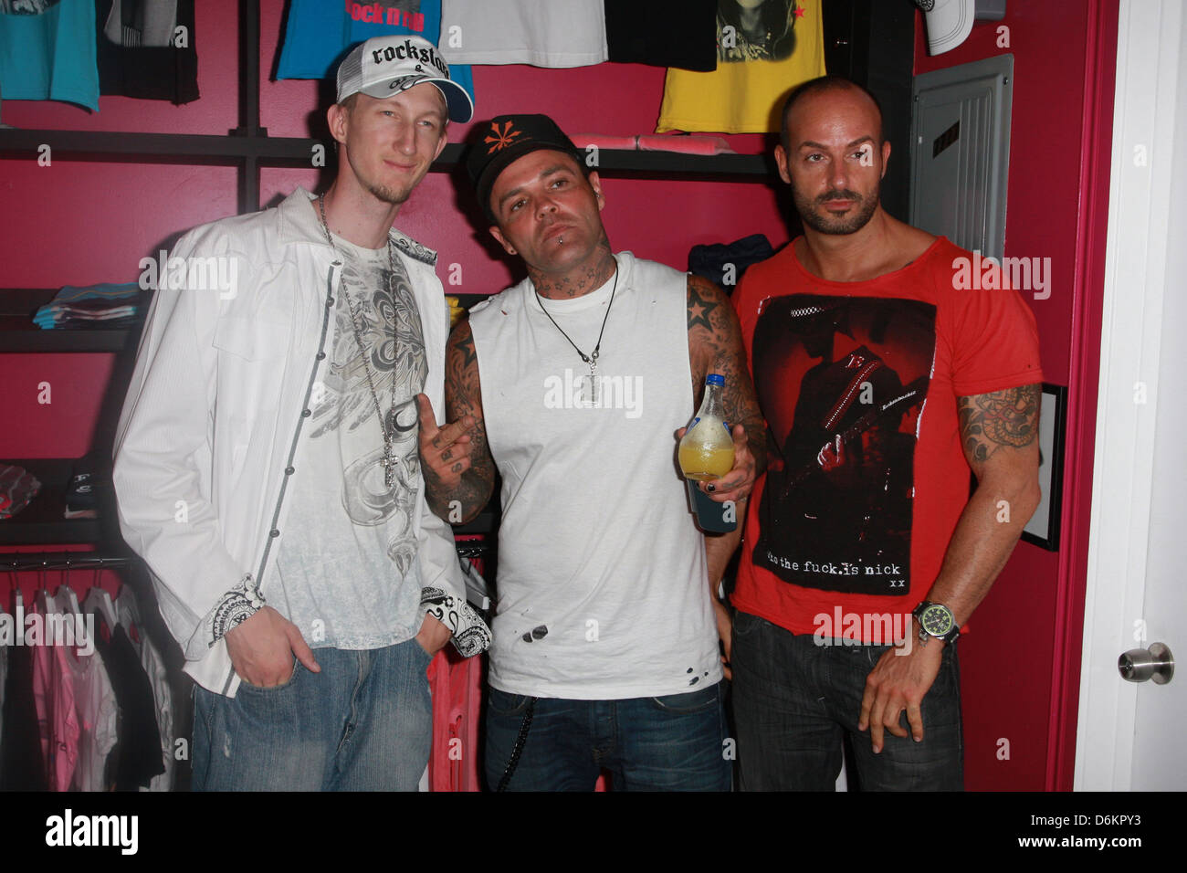Eric Zuley, Shifty Shellshock from the group Crazy Town and German DJ Sascha Gerecht Celebrity appearances at Rockstars - Stock Image