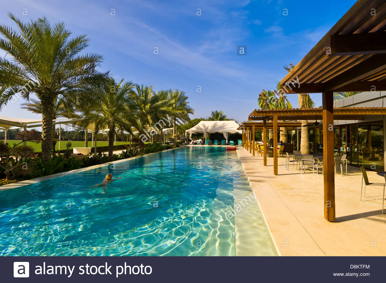 Swimming Pool Desert Palm Hotel Dubai United Arab Emirates Stock Photo 55755384 Alamy
