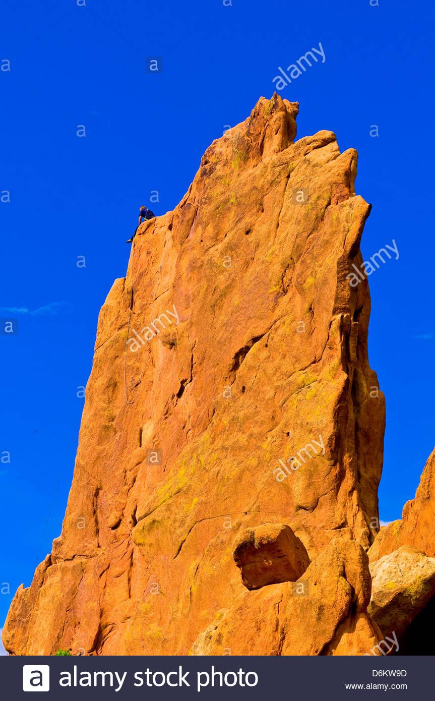 Rock climbing, Garden of the Gods, Colorado Springs, Colorado USA - Stock Image
