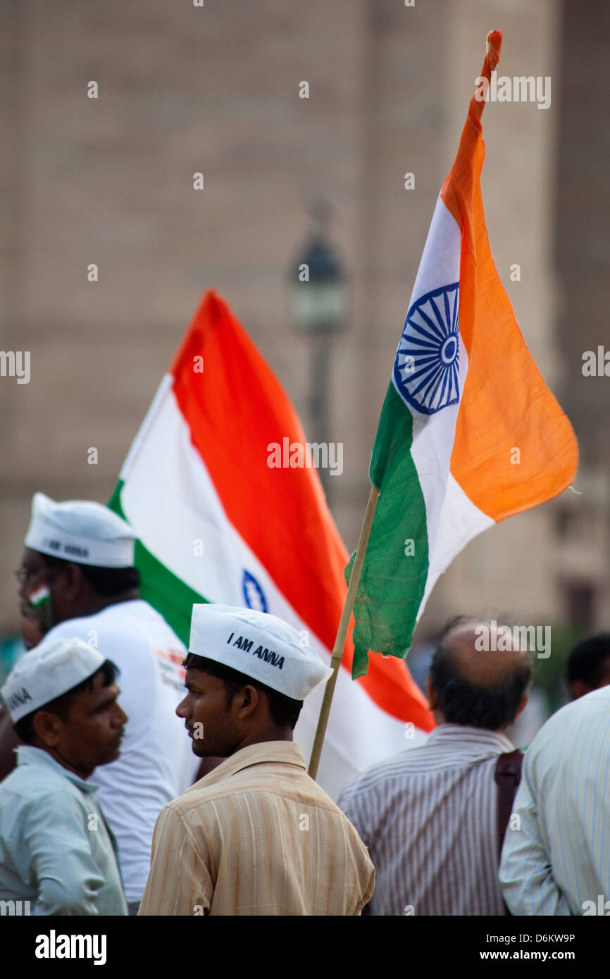 Indian activists at India Gate, New Delhi - Stock Image