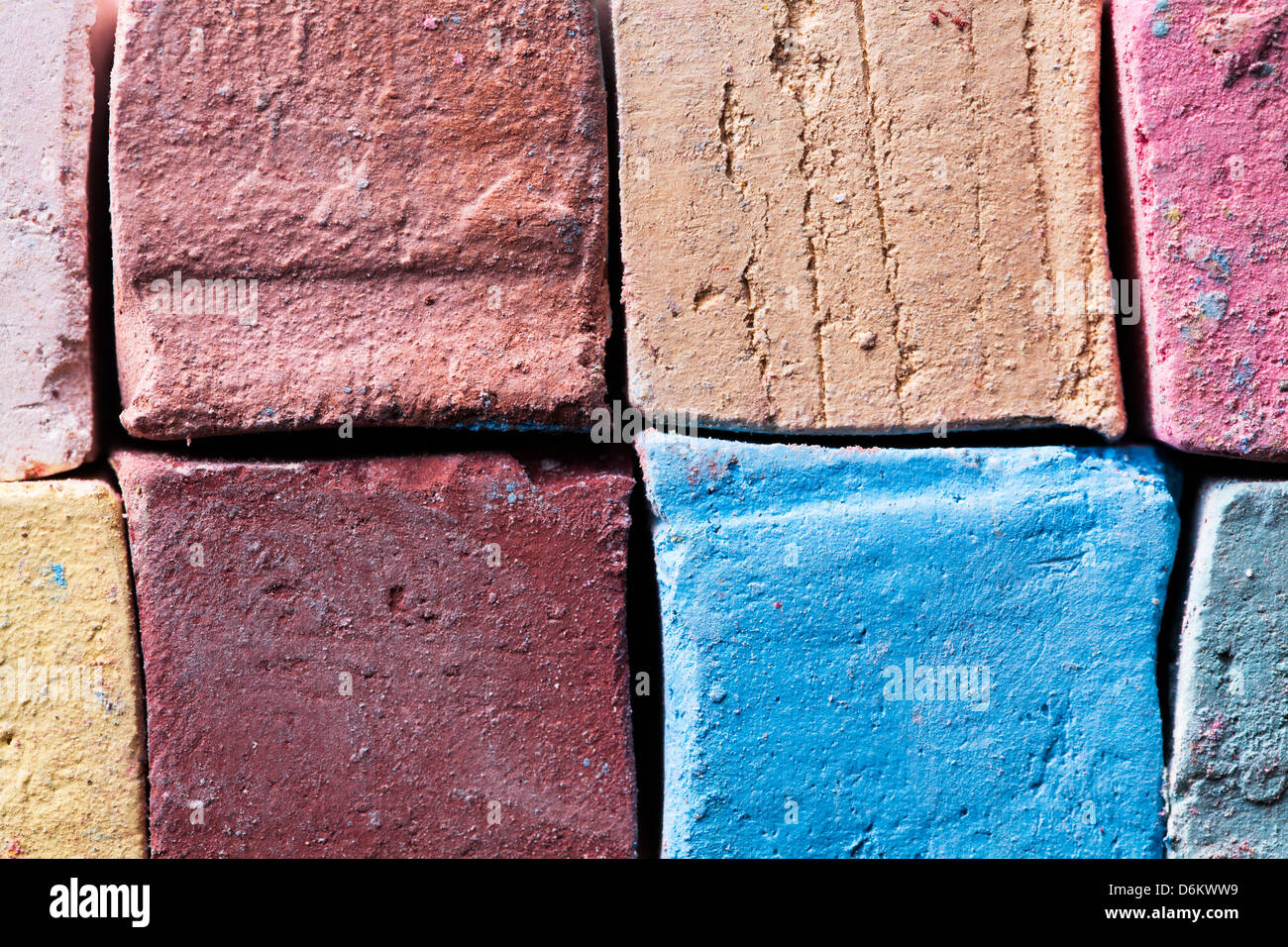 chalks pieces colorful full frame closeup - Stock Image