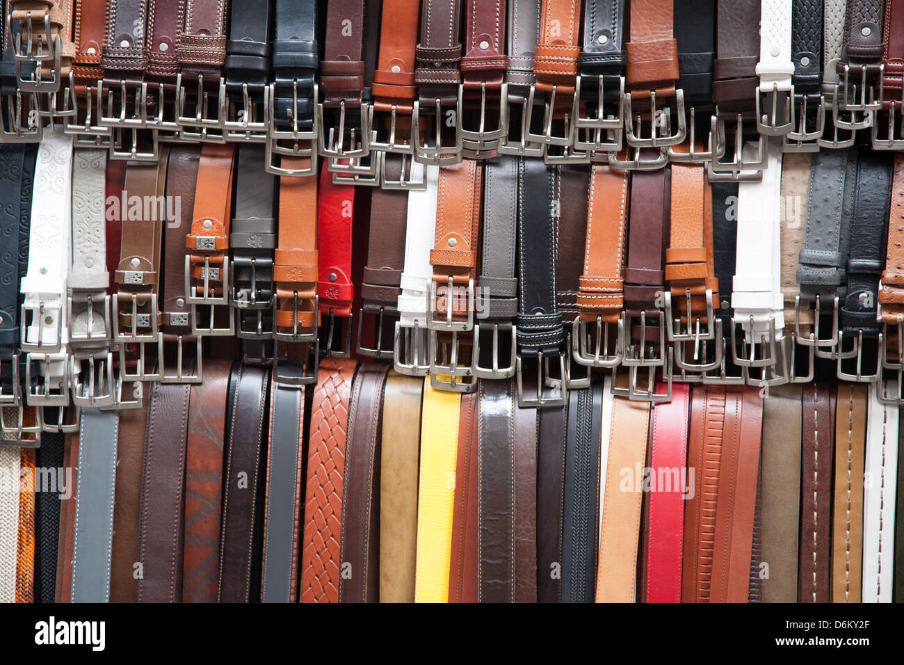 Leather Belts for Sale in Mercato Nuovo - New Market, Florence, Italy - Stock Image