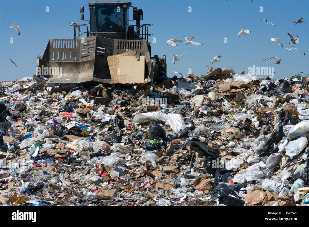 Truck moving trash in a landfill Stock Photo