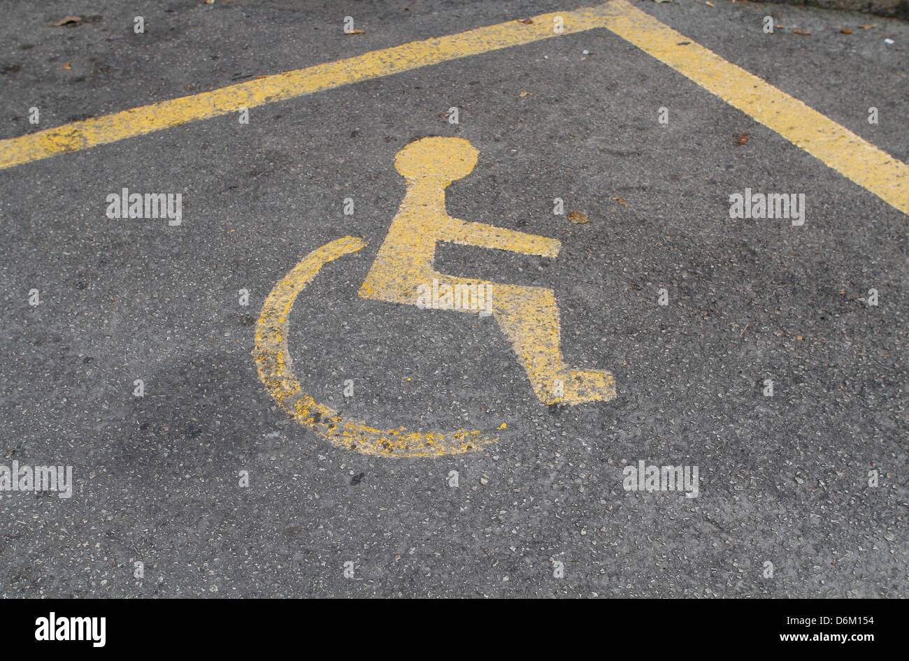 A park reservation for disabled people is seen over asphalt on a central street in Palma de Majorca, on the spanish - Stock Image