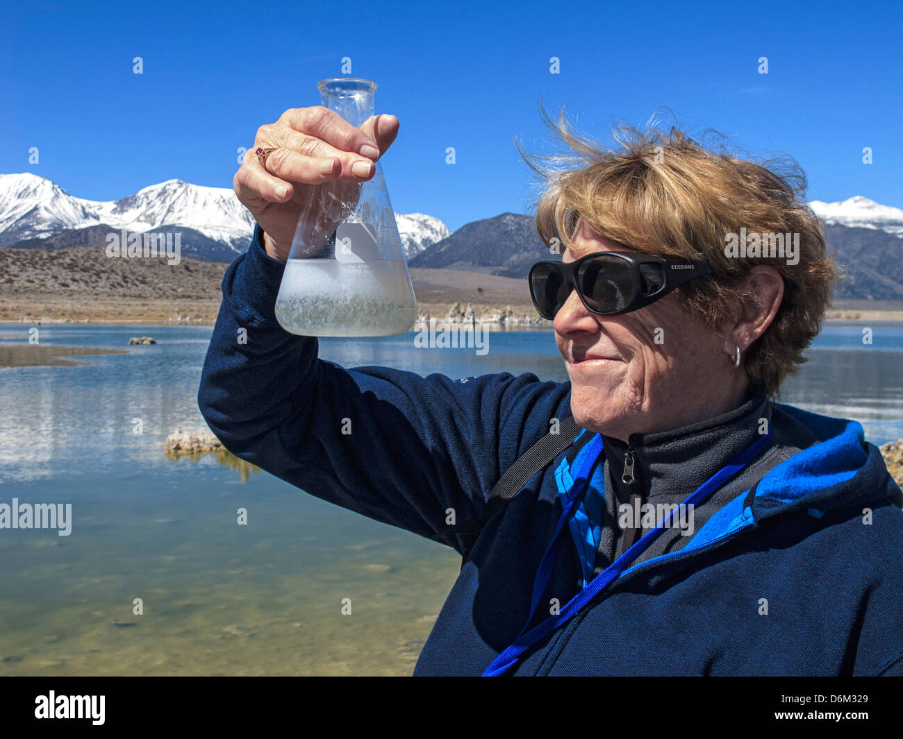 Making making tufa in glass beaker at Mono Lake in California - Stock Image
