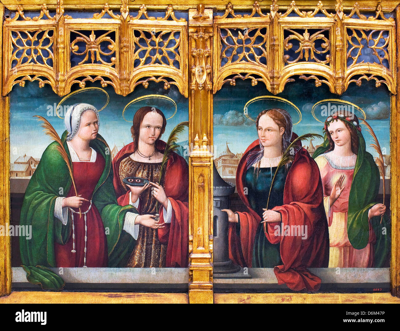 Andrés de Melgar, Saints Apollonia, Lucy and Barbara and another Holy Martyr 1530-1537 Oil and gold leaf on - Stock Image