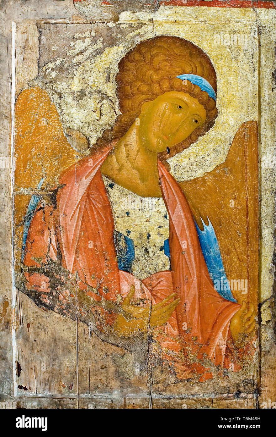 Andrei Rublev, Archangel Michael. From the Deisus Chin (Row) ('Zvenigorodsky') 1410s. Tempera on wood. Tretyakov - Stock Image