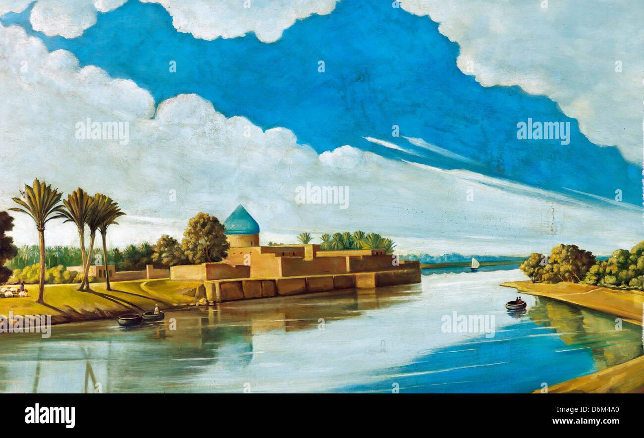 Abdul Qadir al-Rassam, River Scene on the Banks of the Tigris 1920 Oil on canvas. Mathaf: Arab Museum of Modern - Stock Image
