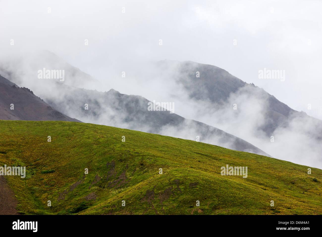 Misty foggy view south of the Alaska Range from Polychrome Pass, Denali National Park, Alaska, USA - Stock Image