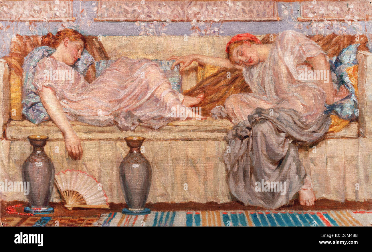 Albert Joseph Moore, Beads (study) Circa 1875 Oil on canvas. Yale Center for British Art, New Haven, Connecticut, - Stock Image