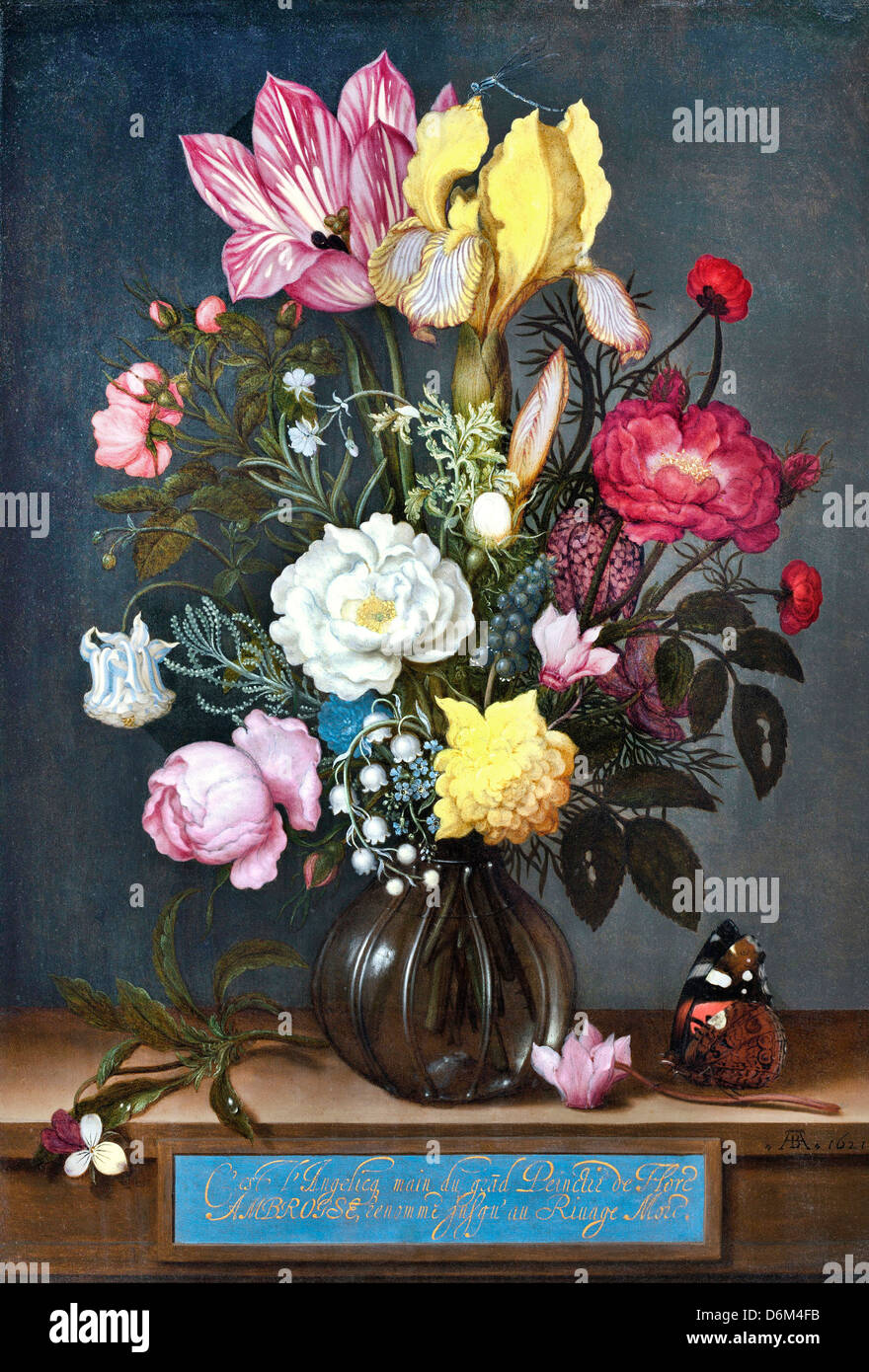 Bouquet of flowers in a vase oil stock photos bouquet of flowers ambrosius bosschaerts the elder bouquet of flowers in a glass vase 1621 oil on copper izmirmasajfo