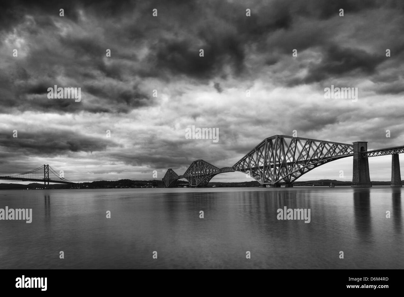 Scotland, Edinburgh, Forth Railway Bridge & Road Bridge connecting Scotland's capital city, Edinburgh, with - Stock Image