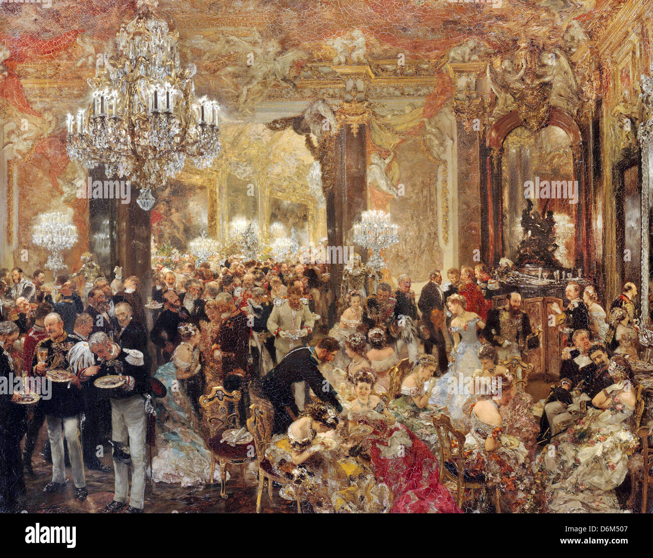 Adolf Menzel, The Dinner at the Ball 1878 Oil on canvas. Alte Nationalgalerie, Berlin - Stock Image