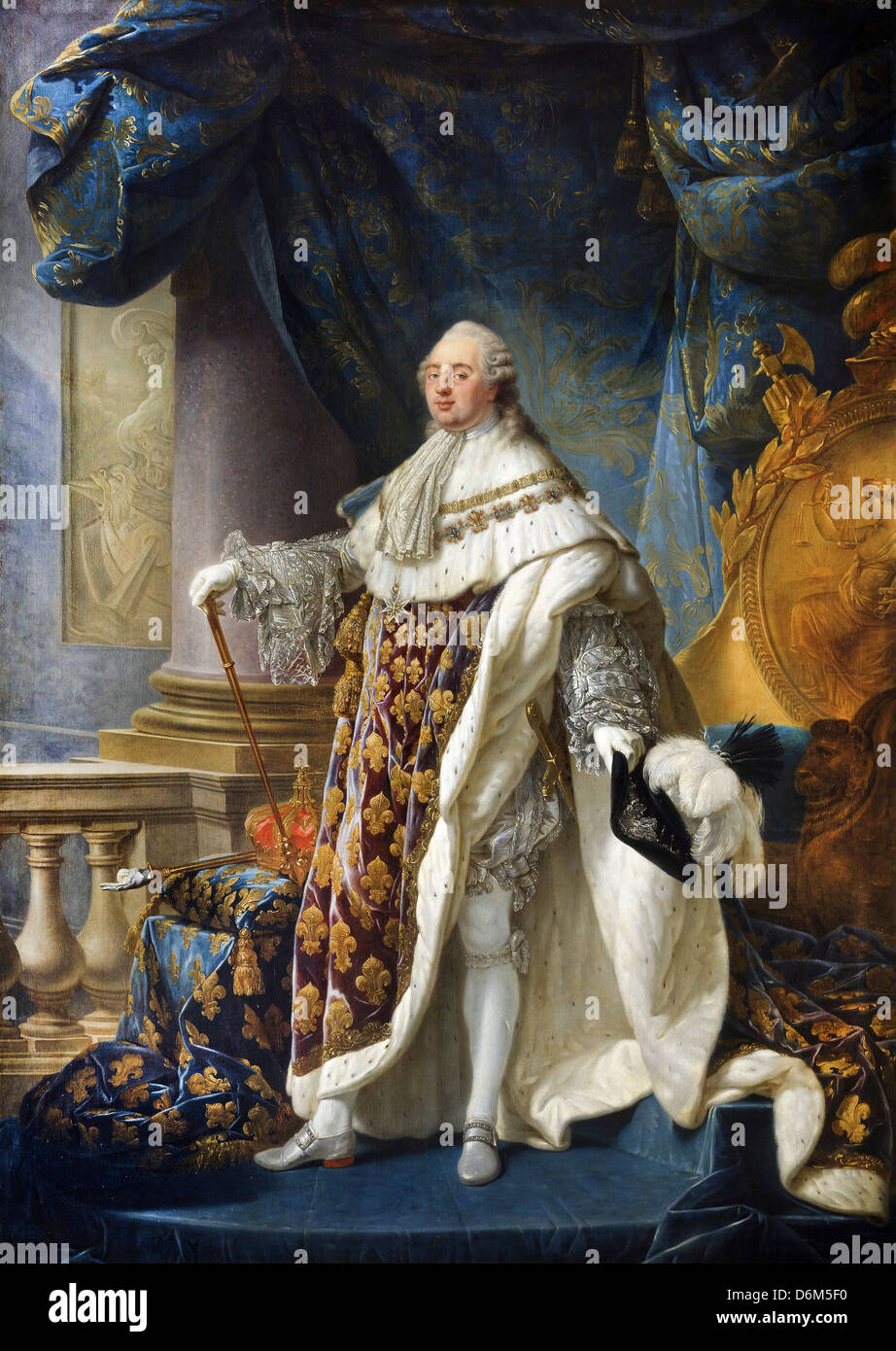 Antoine-François Callet, Louis XVI, King of France and Navarre (1754-1793), wearing his grand royal costume - Stock Image
