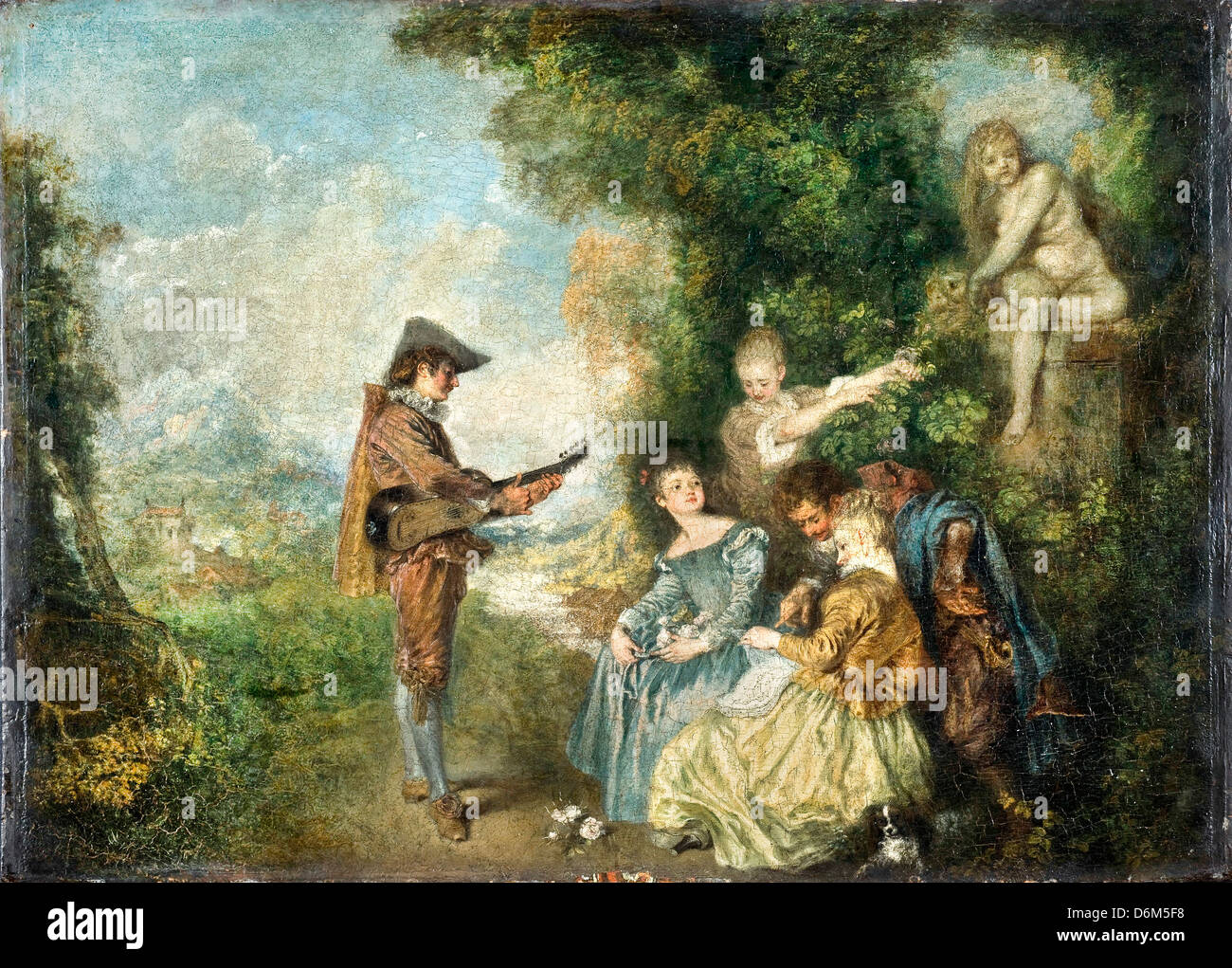 Antoine Watteau, The Love Lesson 1716-1717 Oil on canvas. Nationalmuseum, Stockholm, Sweden - Stock Image