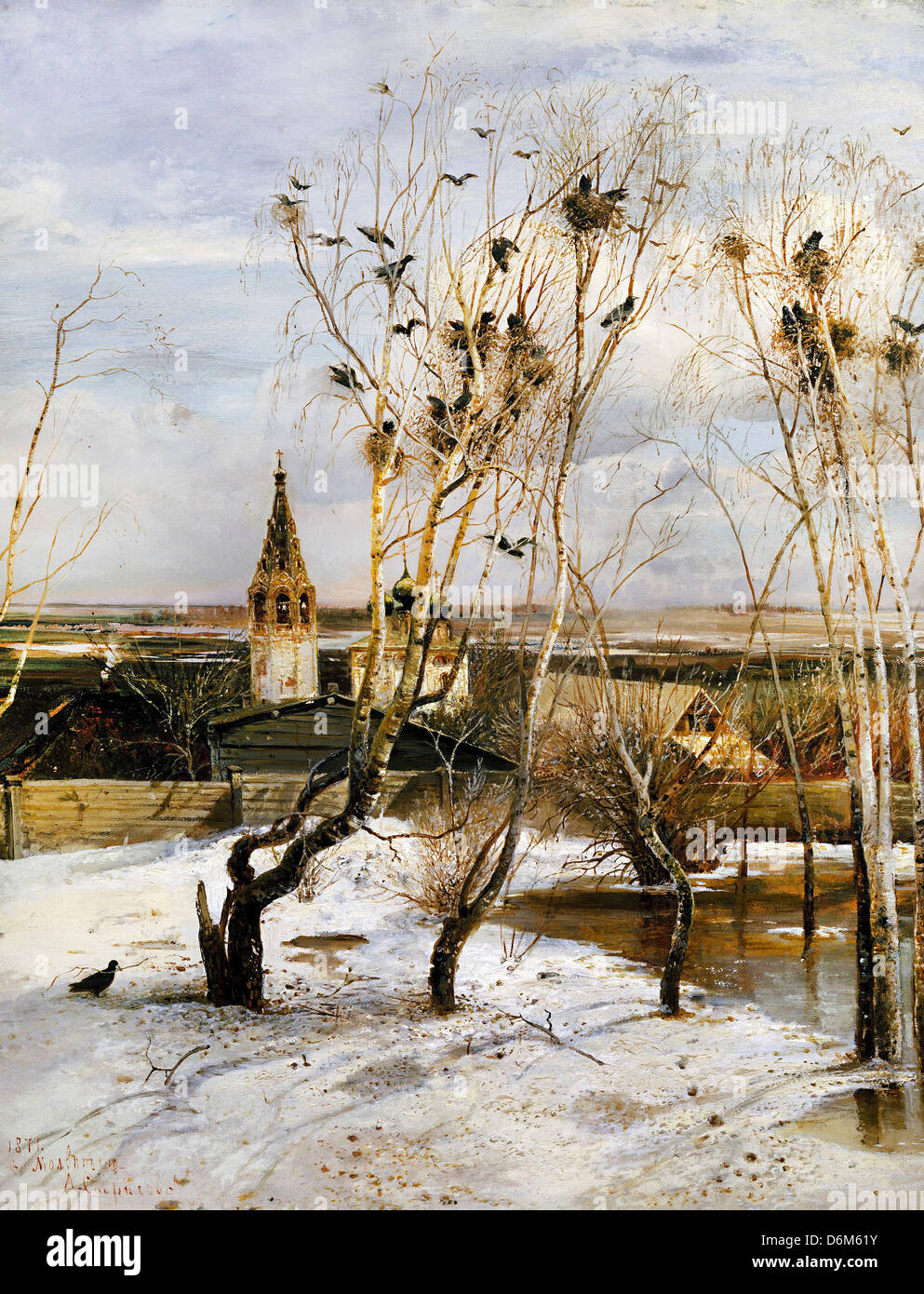 Alexei Savrasov, Rooks have Returned 1871 Oil on canvas. Tretyakov Gallery, Moscow, Russia - Stock Image