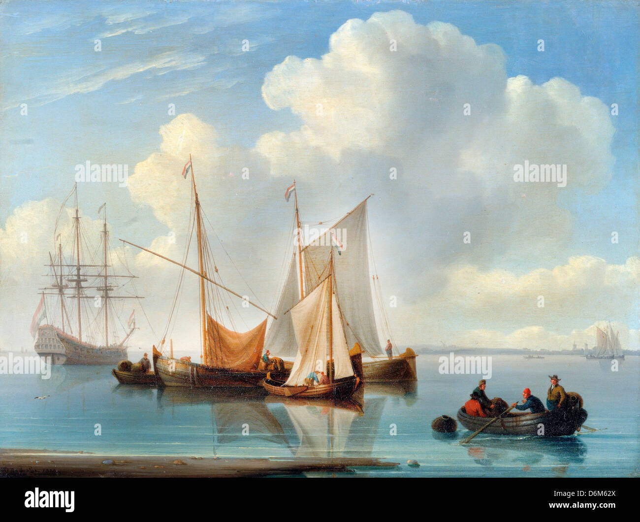 William Anderson, Dutch Sailing Vessels 1814 Oil on panel. Yale Center for British Art, Haven, Connecticut, USA - Stock Image