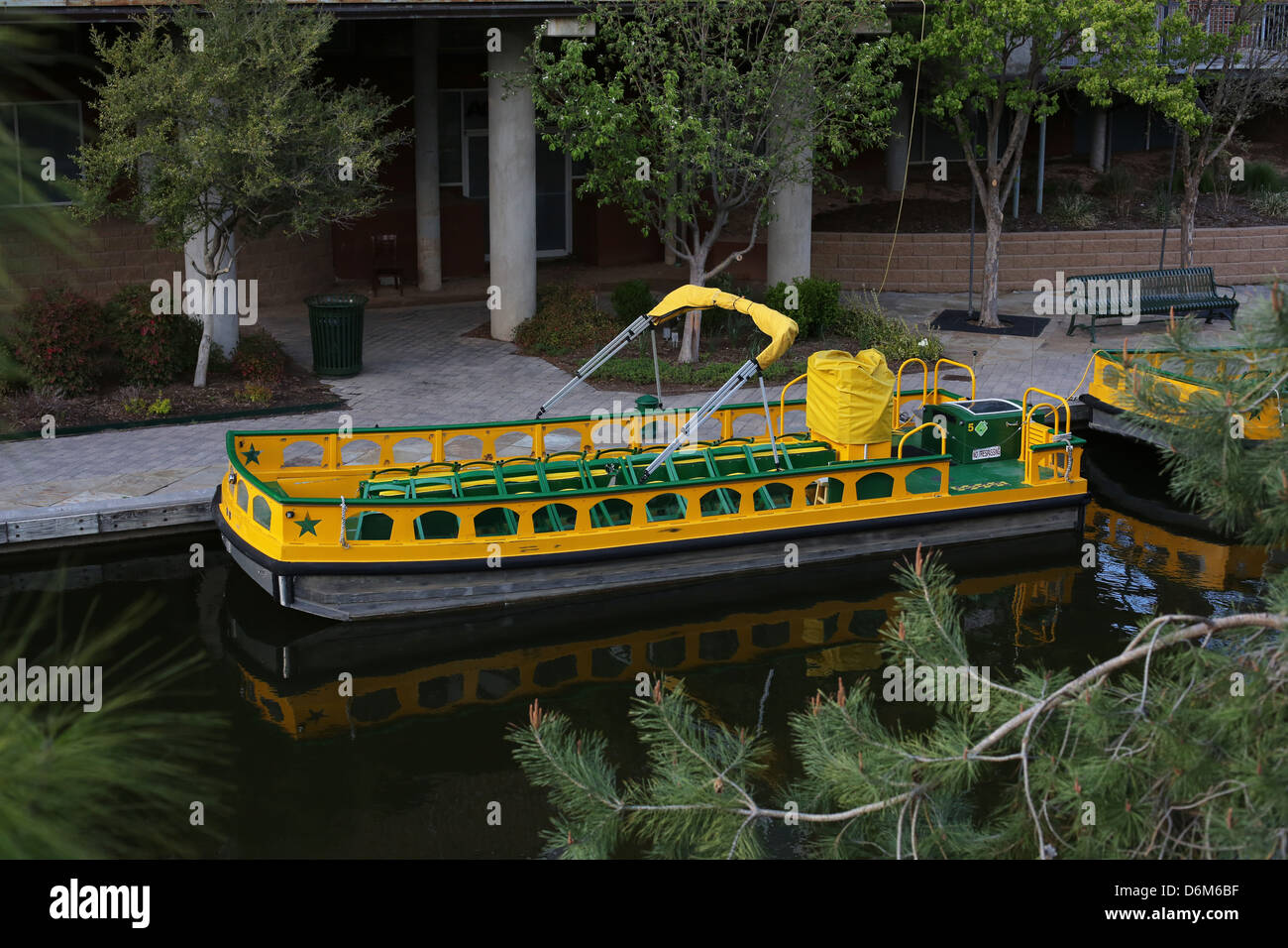 An empty water taxi in Oklahoma City. - Stock Image