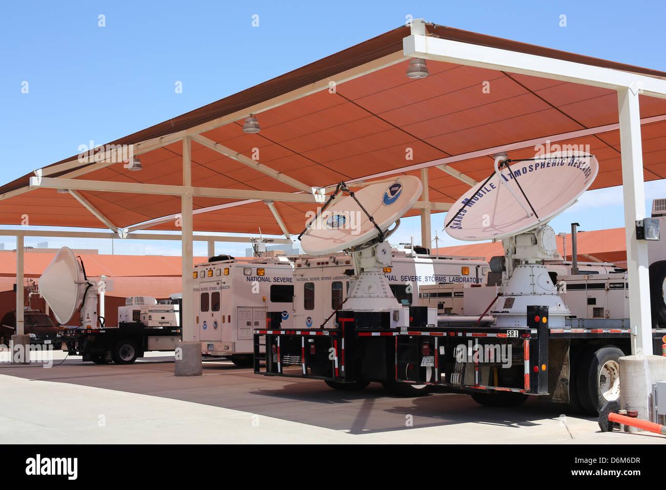 Doppler radar trucks parked at the National