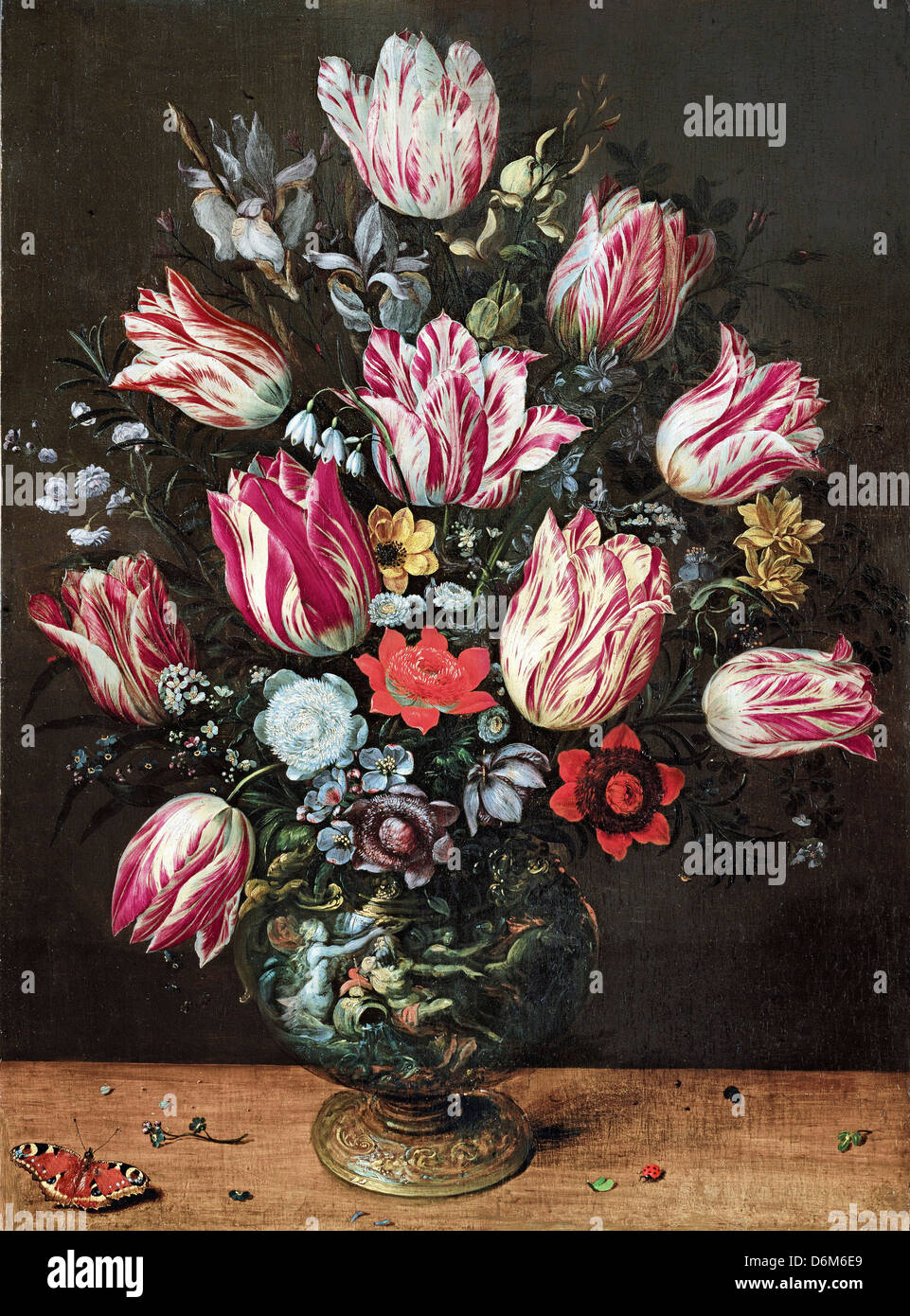 Andries Daniels and Frans Francken the Younger, Vase with Tulips 1620-1625 Oil on panel. Museo de Bellas Artes de - Stock Image