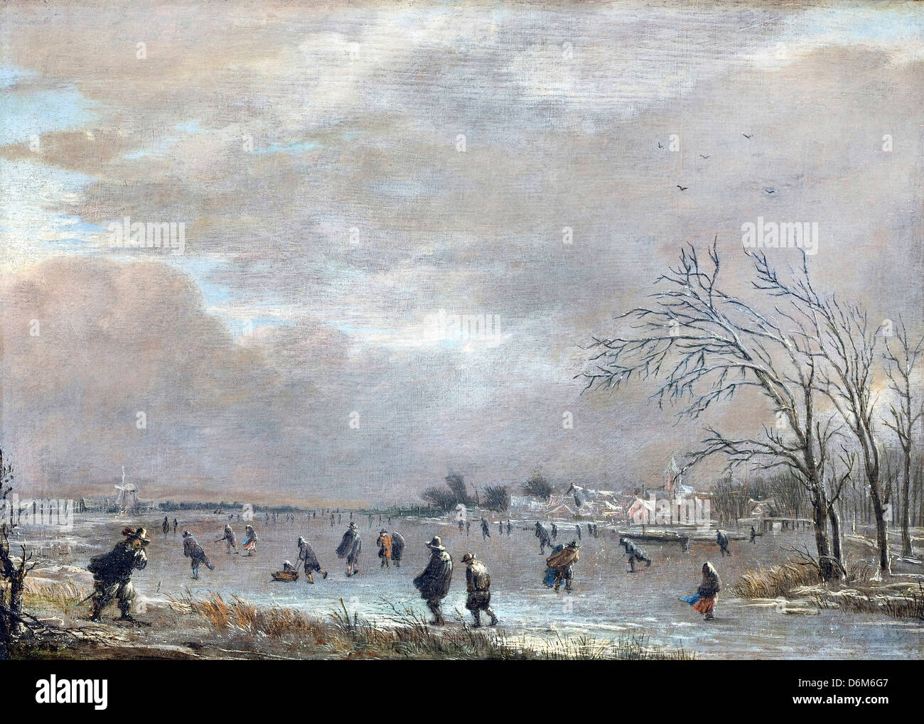 Aert van der Neer, Winter Landscape with Skaters on a Frozen River. Oil on canvas. Hallwyl Museum, Sweden - Stock Image
