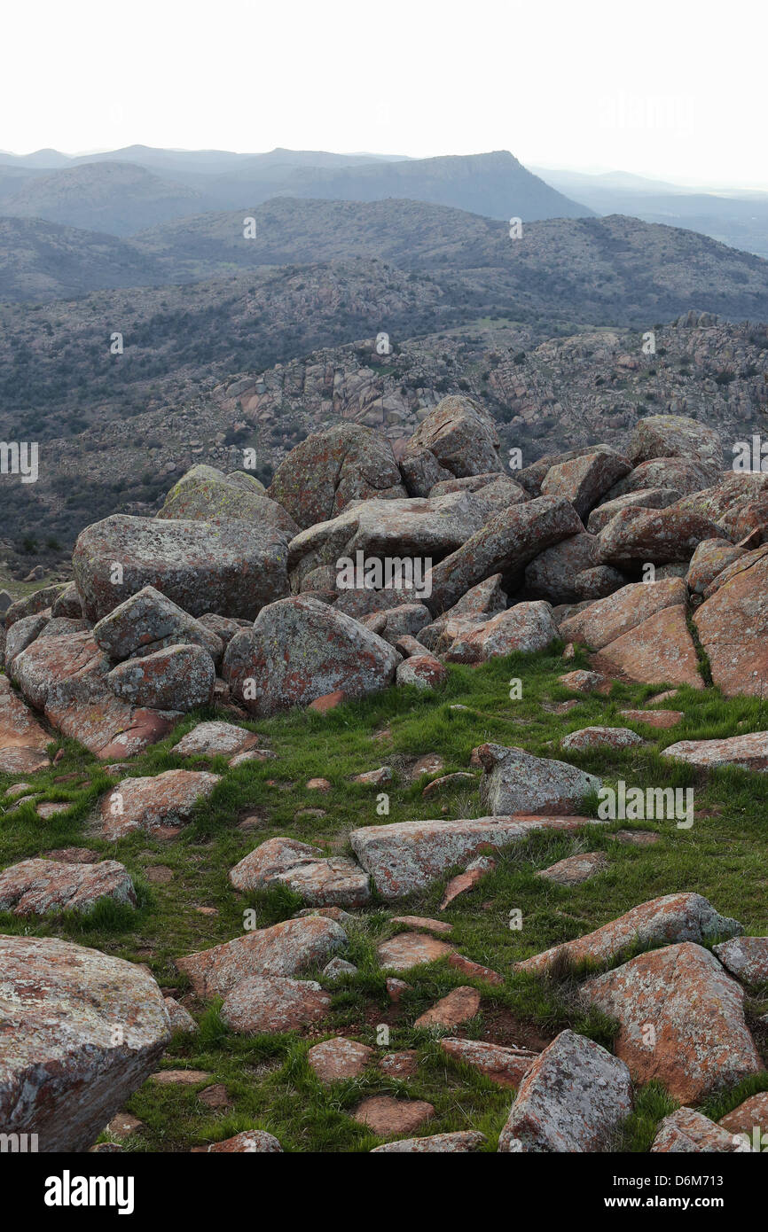 Large rocks at the top of Mount Scott in the Wichita Mountains of Oklahoma. - Stock Image
