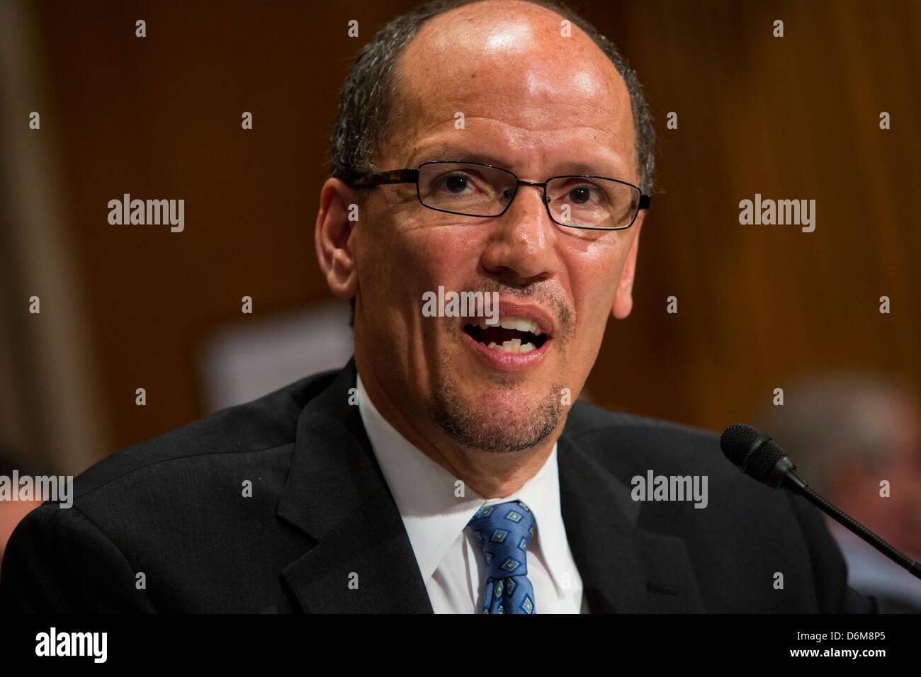 United States Secretary of Labor Thomas Perez during his Senate confirmation hearing.  - Stock Image