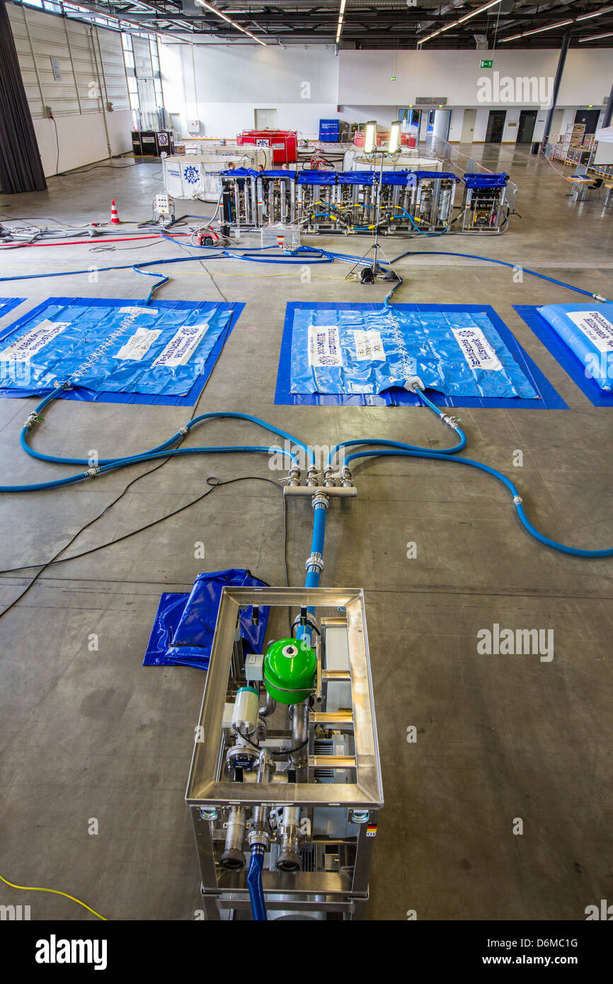Mobil drinking water treatment plant.Mobile water supply system in case of disaster. Produces 15000 l drinking water. - Stock Image
