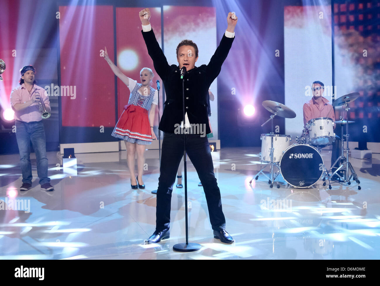 Singer  Stefan Mross performs during the German television music show 'Inka Bause Live' in Burg, Germany, - Stock Image