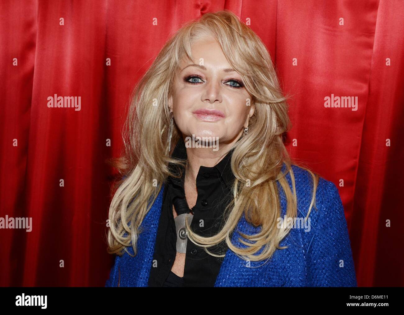 British singer Bonnie Tyler poses and smiles at the Madame Tussauds wax works in Berlin, Germany, 20 April 2013. - Stock Image