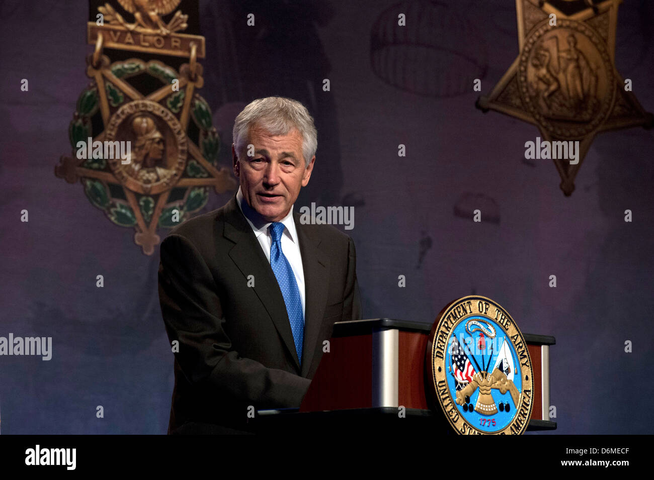 US Secretary of Defense Chuck Hagel speaks during a ceremony inducing Army Chaplain Emil Kapaun posthumously into - Stock Image
