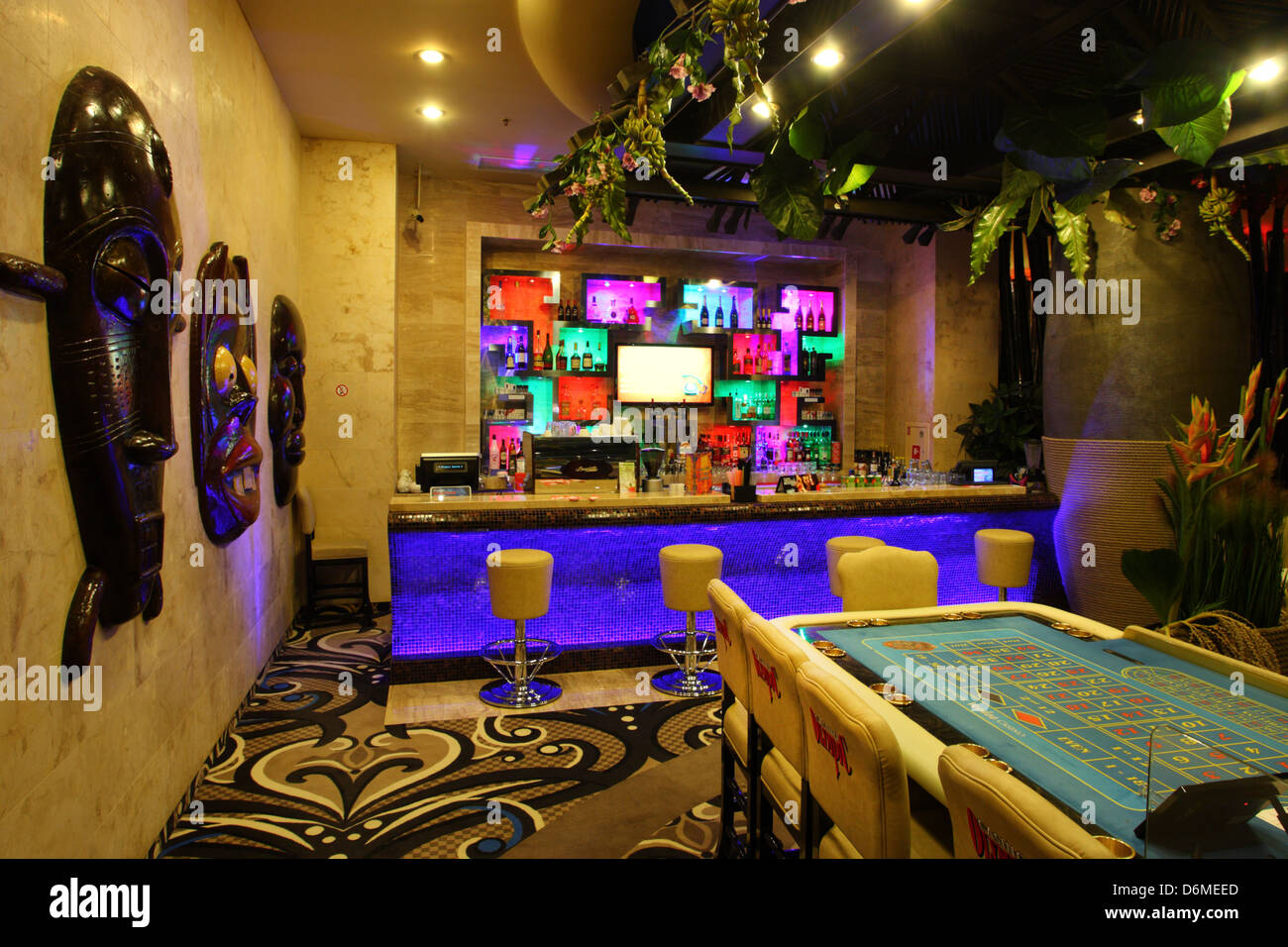 Bar in Olympic Casino, Riga, Latvia, Europe - Stock Image
