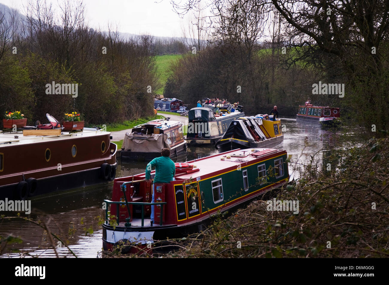 Kennet and Avon Canal, Bathampton, Somerset, UK.  Warm spring weather brings out canal barge narrowboat owners - Stock Image