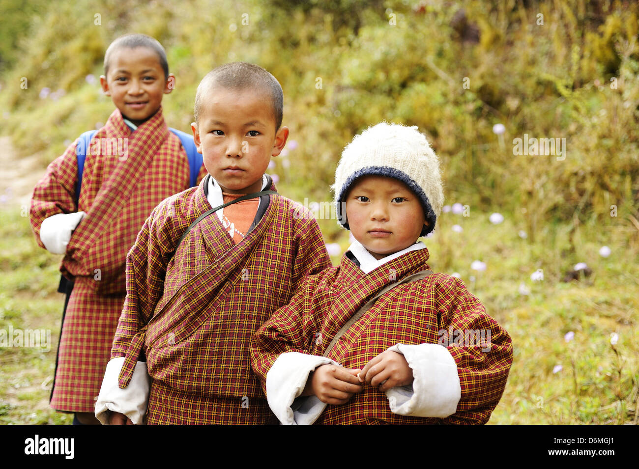 Students in Bhutan - children in Bhutan - Stock Image