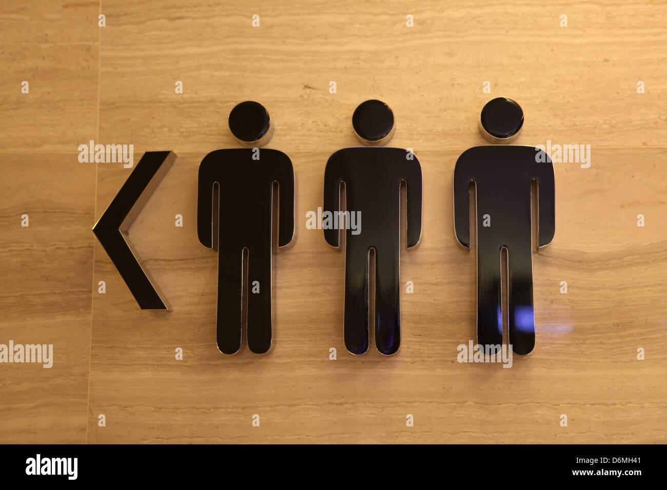 Hong Kong, China, pictogram men's rooms left - Stock Image