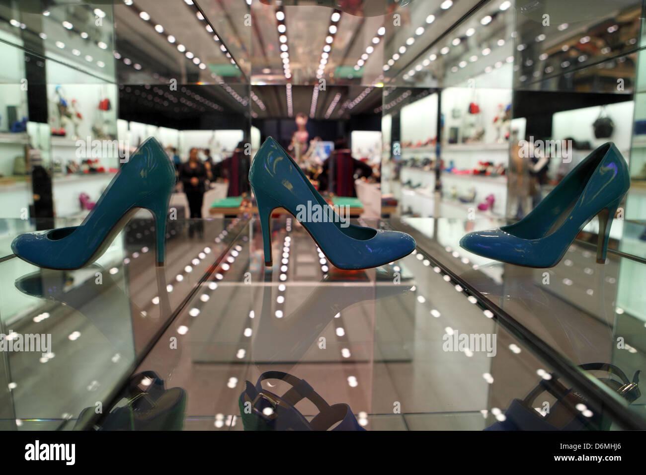 bde0356b4 Dubai, United Arab Emirates, Women's shoes in a shop window Stock ...