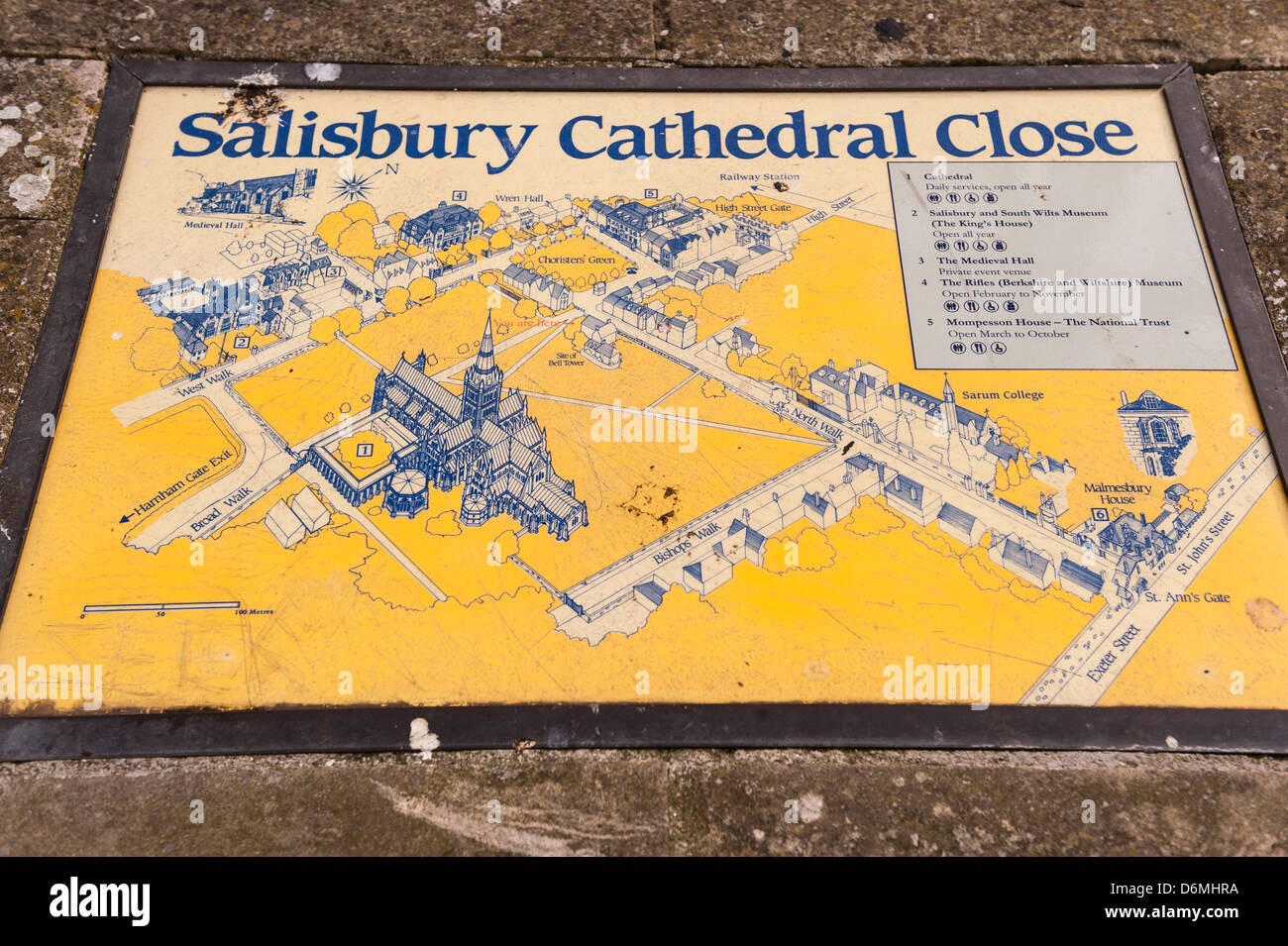 A Map Of Salisbury Cathedral In Salisbury Wiltshire England
