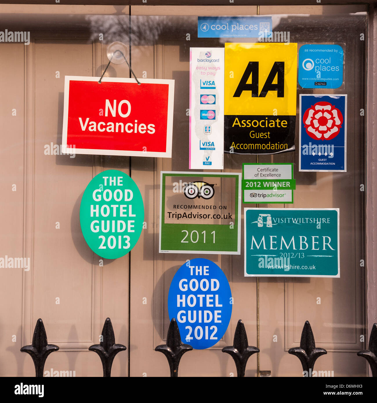 Signs in the window of a bed and breakfast in Salisbury , Wiltshire , England , Britain , Uk Stock Photo
