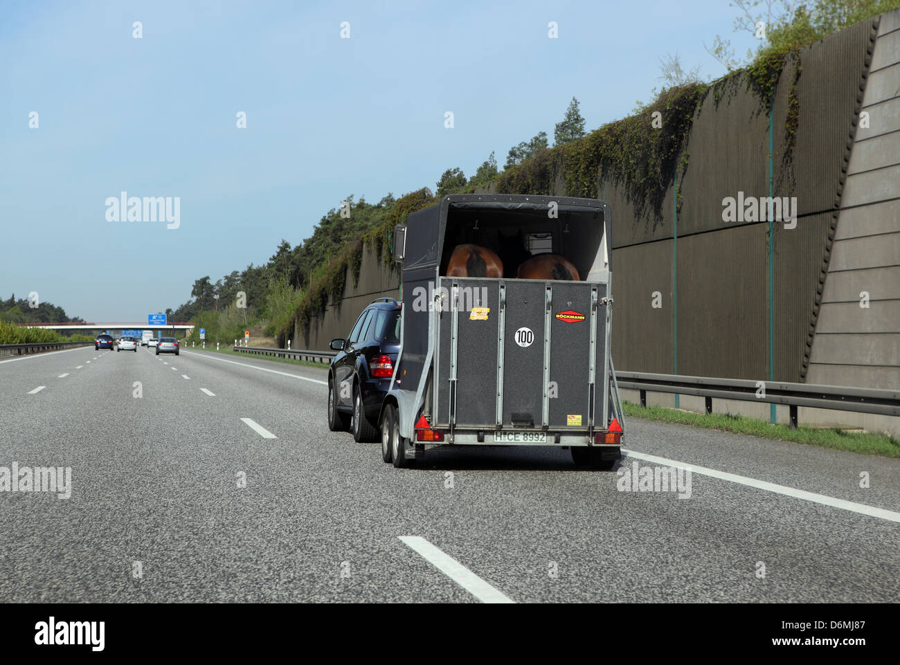 Hannover, Germany, with Pferdeanhaenger car on the A2 Stock Photo