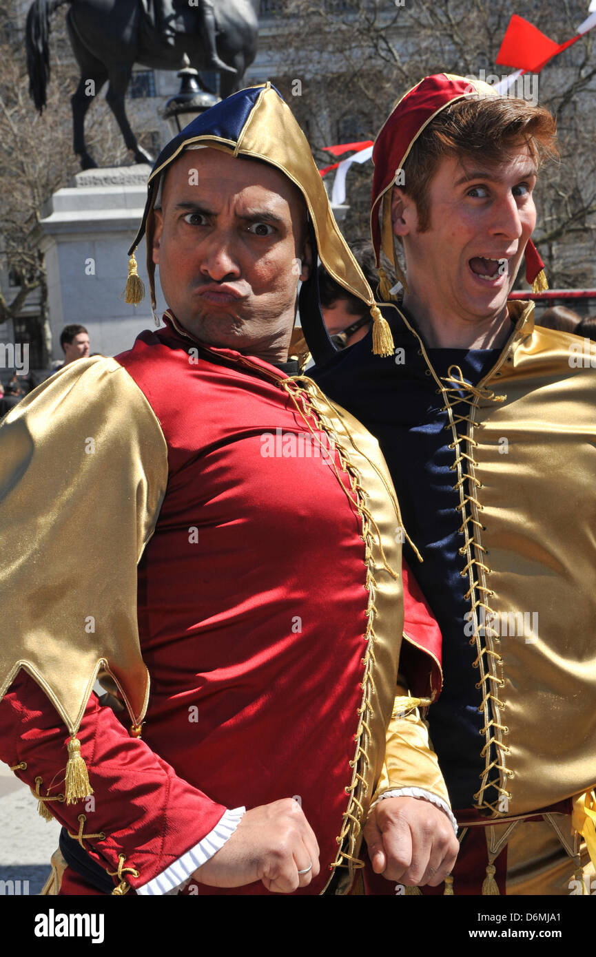 Trafalgar Square, London, UK. 20th April 2013. Two Jesters at the Feast of St George. The Feast of St George in - Stock Image