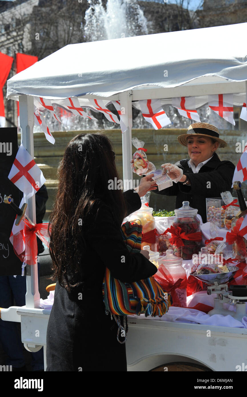 Trafalgar Square, London, UK. 20th April 2013. A food stall at the Feast of St George. The Feast of St George in - Stock Image